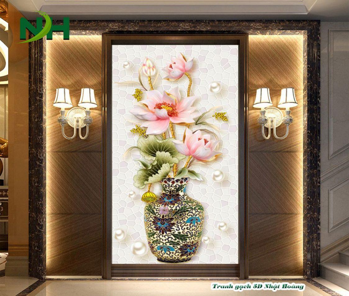 Tranh đá 5D Bình Hoa ốp tường nhà