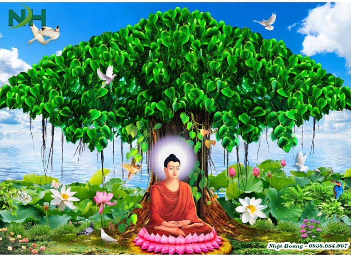 tranh đá 5D Đức Phật ngồi gốc bồ đề