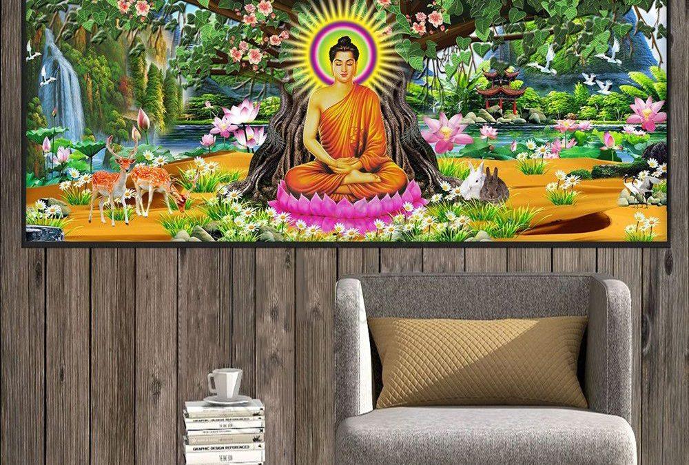 Ý nghĩa tuyệt vời của tranh đá 5D Đức Phật ngồi gốc bồ đề