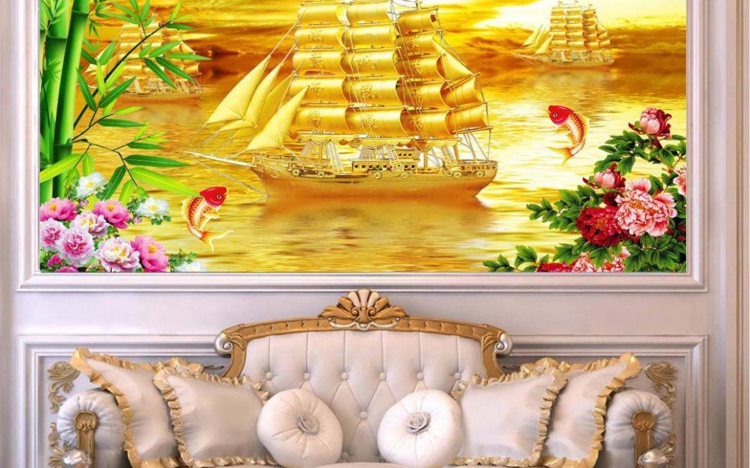 Lựa chọn tranh gạch 5D sau ghế sofa mang đến sự tốt lành trong đời sống và trong phong thủy