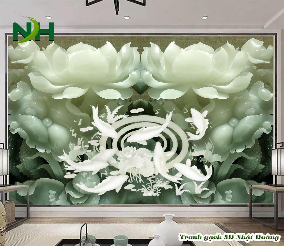 Tranh gạch 5D hoa sen
